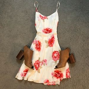 Spaghetti strap pink floral summer dress